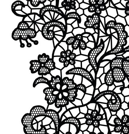 lace background: Seamless lace border. Vector illustration. White lacy vintage elegant trim.