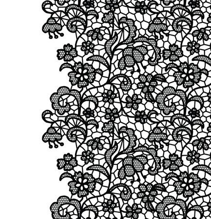 Seamless lace border. Vector illustration. White lacy vintage elegant trim.