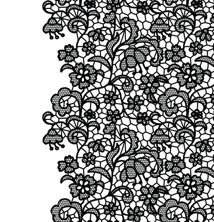 Seamless lace border. Vector illustration. White lacy vintage elegant trim.