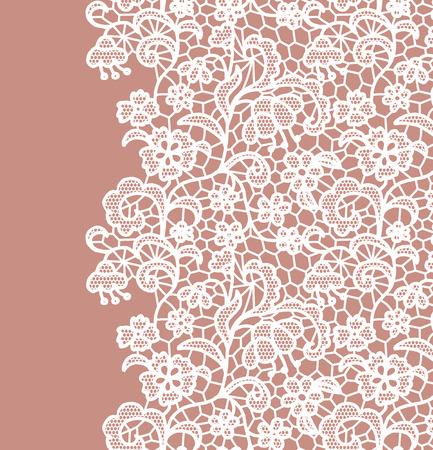 silhouette fleur: Seamless bordure en dentelle. Vector illustration. Blanc dentelle de garniture élégante vintage.