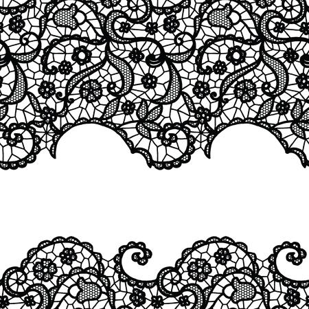 lacework: Seamless lace border. Vector illustration. White lacy vintage elegant trim.