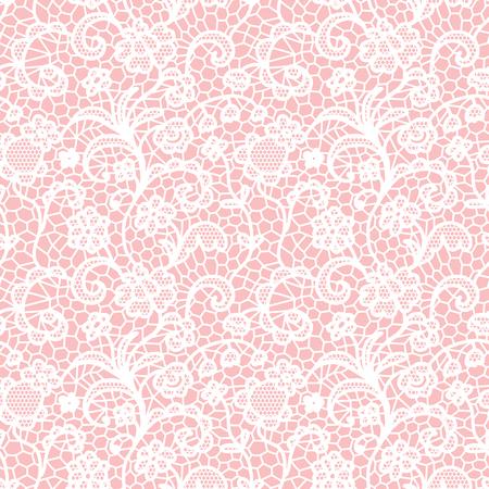 encaje: Encaje blanco sin patrón con flores sobre fondo de color rosa Vectores