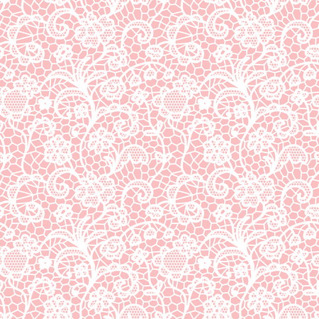 White lace seamless pattern with flowers on pink background Stock Illustratie
