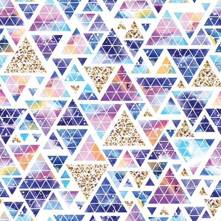 Triangular space design. Abstract watercolor ornament. Vettoriali
