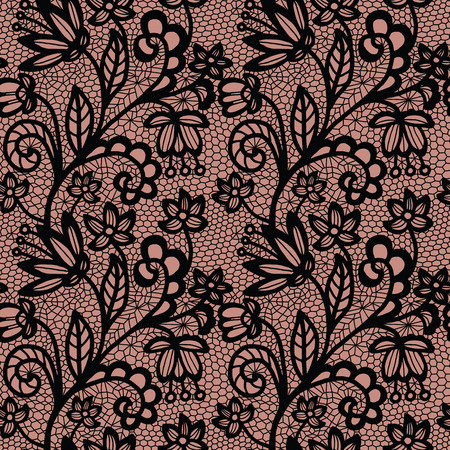 black lace: Black lace seamless pattern with flowers on beige background