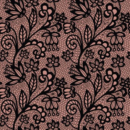 Zwart kant naadloze patroon met bloemen op beige achtergrond