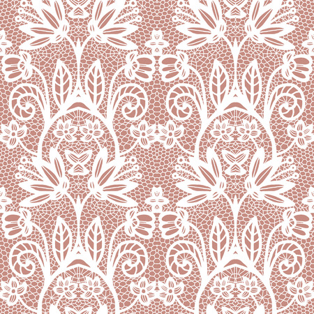 beige background: White lace seamless pattern with flowers on beige background Illustration