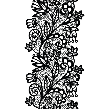 Black lacy vintage elegant trim. Vector illustration.