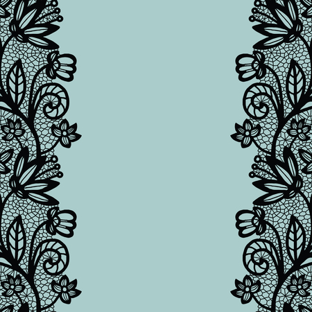 vintage lace: Seamless lace border. Vector illustration. Black lacy vintage elegant trim. Illustration