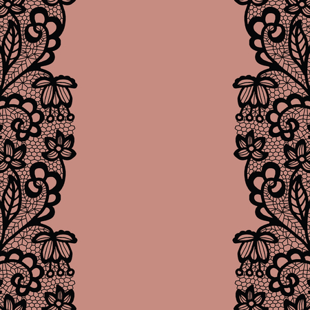 fringe: Seamless lace border. Vector illustration. Black lacy vintage elegant trim. Illustration