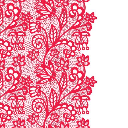 Seamless lace border. Vector illustration. Pink lacy vintage elegant trim. Illustration