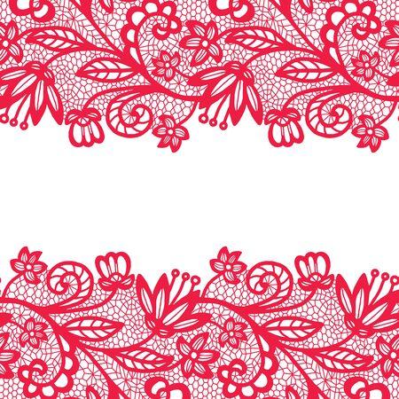 trim: Pink lacy vintage elegant trim. Vector illustration.