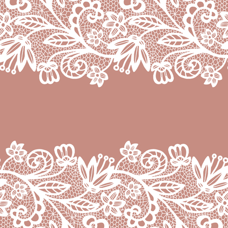 vintage lace: Seamless lace border. Vector illustration. White lacy vintage elegant trim.