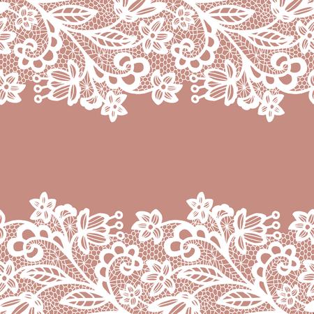 Seamless bordure en dentelle. Vector illustration. Blanc dentelle de garniture élégante vintage.