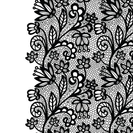 lacework: Seamless lace border. Vector illustration. Black lacy vintage elegant trim. Illustration