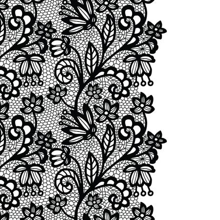 Seamless lace border. Vector illustration. Black lacy vintage elegant trim. Illustration