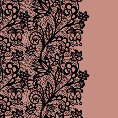 lacy: Seamless lace border. Vector illustration. Black lacy vintage elegant trim. Illustration