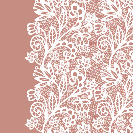 fringe: Seamless lace border. Vector illustration. White lacy vintage elegant trim.