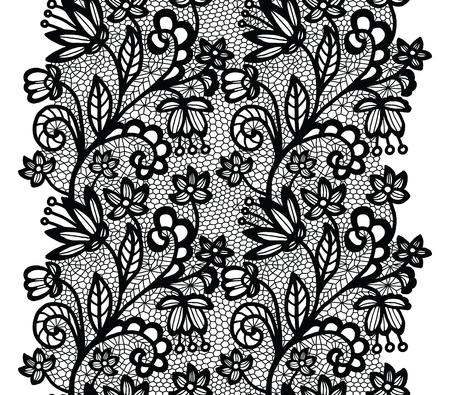 trim: Black lacy vintage elegant trim. Vector illustration.