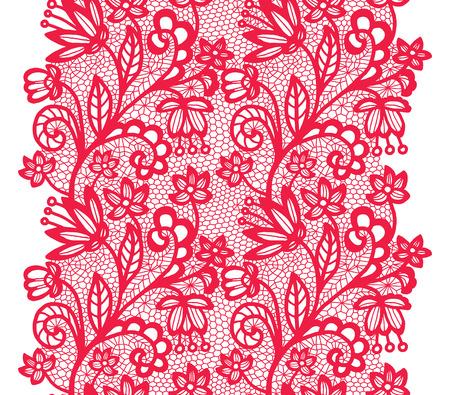 edge design: Pink lacy vintage elegant trim. Vector illustration.
