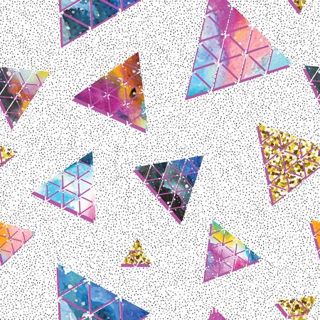 triangle pattern: Triangular space design. Abstract ornament. Vector illustration. Elegant stylish design. Memphis style. Cool modern illustration.