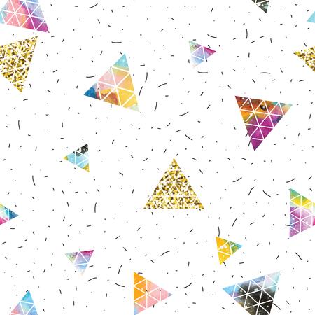 illustration cool: Triangular space design. Abstract ornament. Vector illustration. Elegant stylish design. Memphis style. Cool modern illustration.