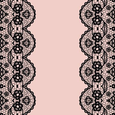 lacework: Lace border. Vector illustration. Black lacy vintage elegant trim.