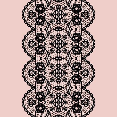 lace edges: Black lacy vintage elegant trim. Vector illustration.