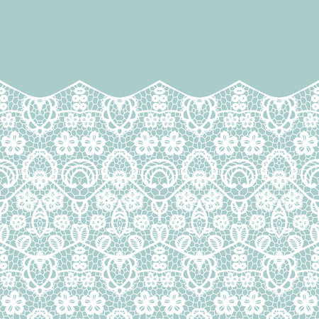 lacework: Lace border. Vector illustration. White lacy vintage elegant trim.