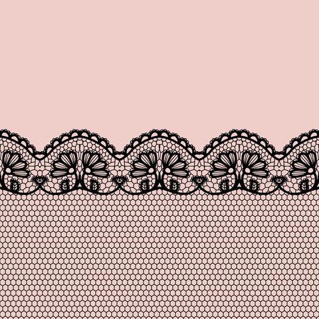 Lace border. Vector illustration. Black lacy vintage elegant trim.