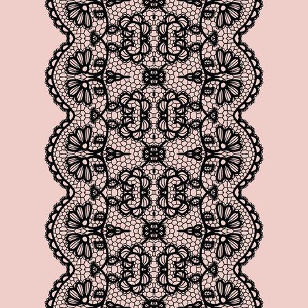 lace pattern: Black lacy vintage elegant trim. Vector illustration.