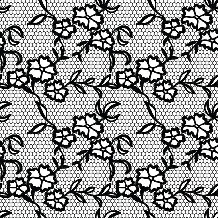 encaje: Modelo inconsútil del cordón negro con flores sobre fondo blanco