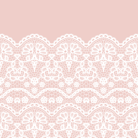 lace vector: Lace border. Vector illustration. White lacy vintage elegant trim.