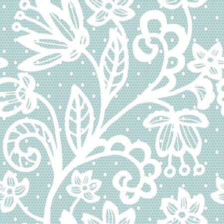 lace pattern: Lace white seamless pattern with flowers on blue background
