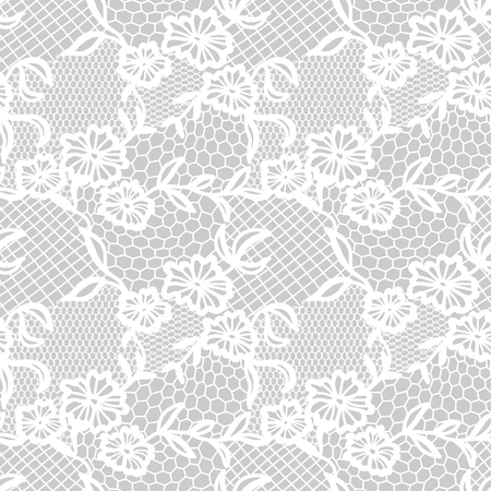 White lace seamless pattern with flowers on grey background Vectores