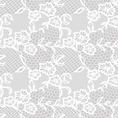 encaje: patrón transparente de encaje blanco con flores sobre fondo gris