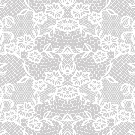 the womanly: White lace seamless pattern with flowers on grey background Illustration