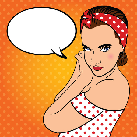 grateful: Girl with headband. Thinking bubble for your design. Pop art vector illustration.