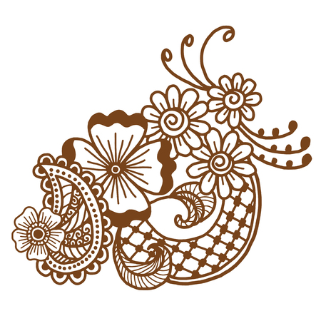 Mehndi design. Floral abstract pattern. Vector illustration