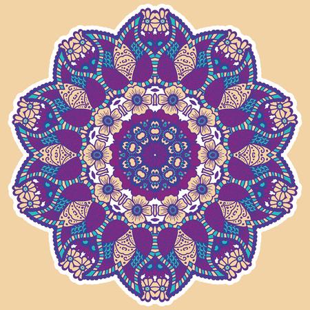 colored: Round colorful mandala design. Creative vector illustration Illustration