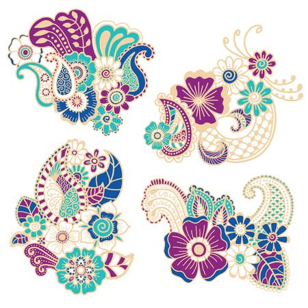 flower pattern: Mehndi design. Collection of patterns. Vector illustration Illustration