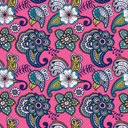 Paisley mehndi seamless coloré. Vector illustration