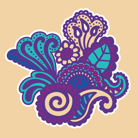 marcos decorativos: Mehndi design. Floral abstract pattern. Vector illustration