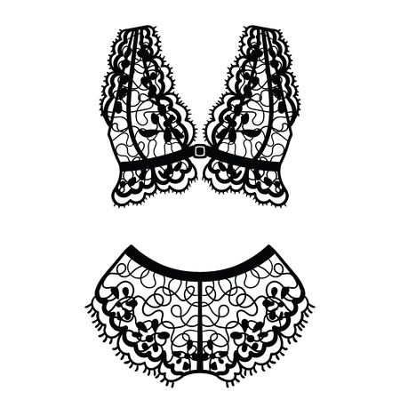 Hand drawn lingerie. Panty and bra set. Vector illustration