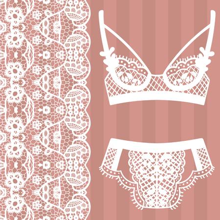 undies: Hand drawn lingerie. Panty and bra set. Vector illustration