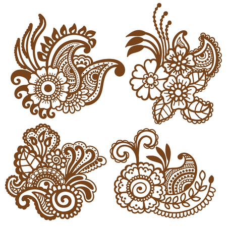 Mehndi diseño. Colección de modelos. ilustración vectorial