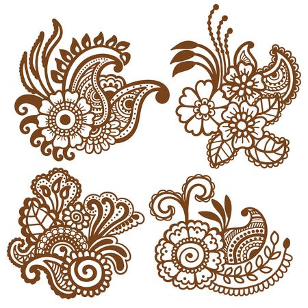 Mehndi design. Collection of patterns. Vector illustration Illustration