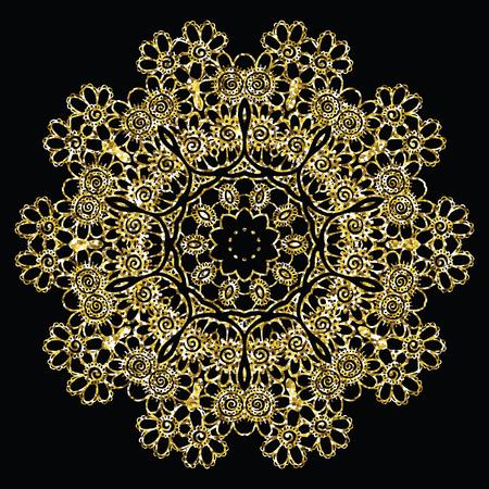 vintage patterns: Round golden mandala. Mehndi design. Creative vector illustration