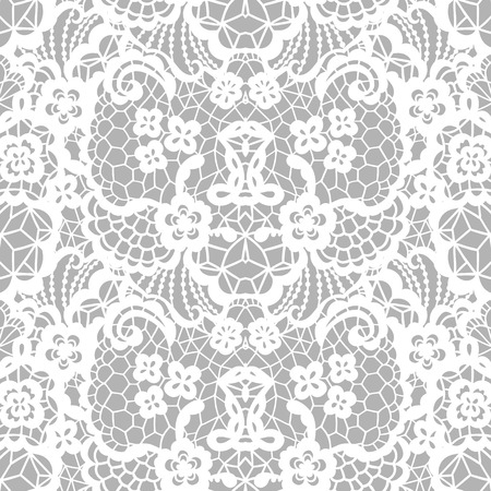 White lace seamless pattern with flowers on grey background 矢量图像