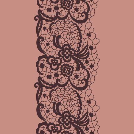 edge: Brown lacy vintage elegant trim. Vector illustration. Illustration